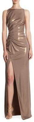 Halston Ruched Boatneck Gown
