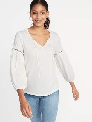 Old Navy Relaxed Tie-Neck Peasant Top for Women