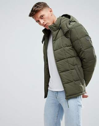 Esprit Puffer Jacket With Hood In Khaki
