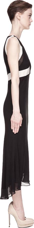 Vanessa Bruno Black and pale pink silk Georgette De Soie Maxi Dress