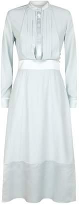 Burberry Silk Pleat-Front Maxi Dress
