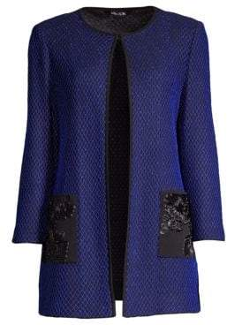 Misook Women's Floral Appliqué Pocket Jacket - Black Blue Flame - Size XS