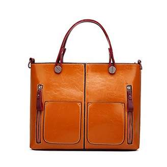 Women's Retro Oil Wax Leather Satchel Purse Single Shoulder Tote Bags for Lady