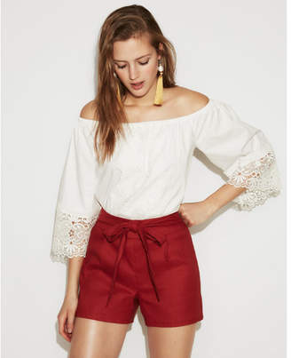 Express high waisted side tie linen-blend shorts