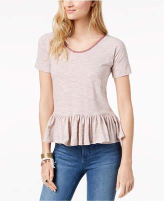 Lucky Brand Cotton Striped Peplum-Hem T-Shirt