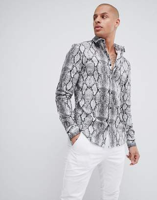 Asos DESIGN stretch slim snakeskin printed shirt in gray
