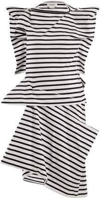 Junya Watanabe Striped asymmetric cotton-jersey dress