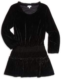 Ella Moss Girl's Ruffled& Smocked A-Line Velvet Dress