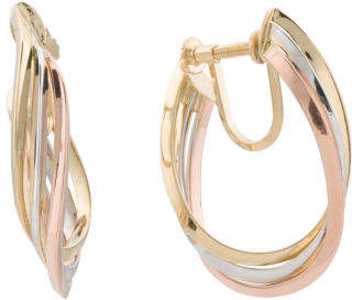 Made In Italy 18k Tricolor Gold Non Pierced Hoop Earrings