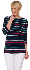 Denim & Co. Yarn Dyed Stripe 3/4 Sleeve BoatNeck Top