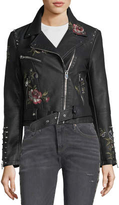 Driftwood Faux-Leather Floral-Embroidered Moto Jacket