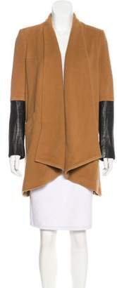 Mason Leather-Accented Virgin Wool Coat