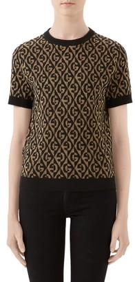 Gucci GG Rhombus Metallic Jacquard Wool Sweater