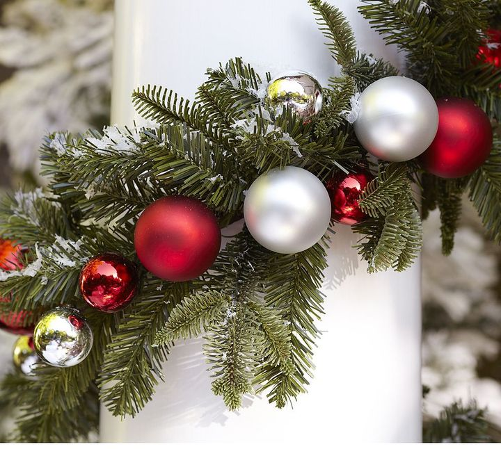 Outdoor Ornament Pine Garland - Red/Silver