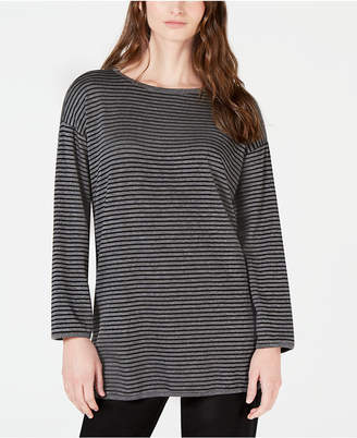 Eileen Fisher Boat-Neck Striped Top, Regular & Petite