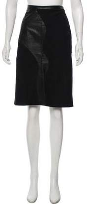 Versus Leather-Accented Wool Skirt
