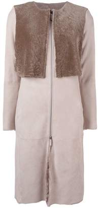 Armani Collezioni collarless zip-up coat