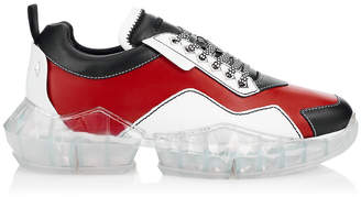 Jimmy Choo DIAMOND/M Red and Black Soft Leather Trainers with Chunky Platform