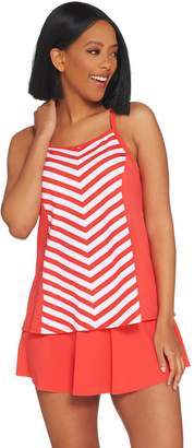 Denim & Co. Beach Stripe Tankini Swimsuit with Skirt