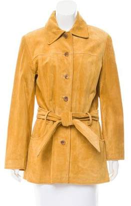 Andrew Marc Belted Suede Jacket