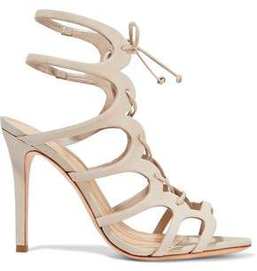 Schutz Laurine Lace-Up Cutout Leather Sandals