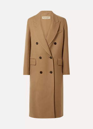 Burberry Double-breasted Wool And Silk-blend Twill Coat - Camel