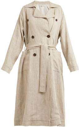 Double-breasted linen trench coat