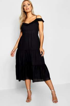 boohoo Plus Frill Detail Cold Shoulder Dress