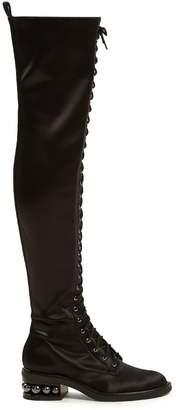Nicholas Kirkwood Casati pearl-heeled stretch-satin boots