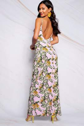 boohoo Low Back Tropical Print Strappy Maxi Dress
