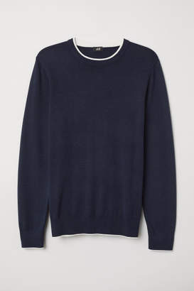 H&M Fine-knit Cotton Sweater - Blue