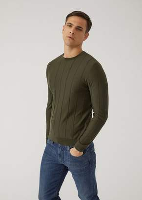 Emporio Armani Pure Virgin Wool Jumper With Drop-Stitch Motif