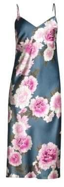 Fleur du Mal Silk Floral Bias Slip Dress