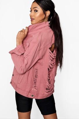 boohoo Distressed Oversize Denim Jacket