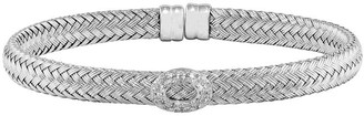 Sterling Silver Crystal Woven Cuff
