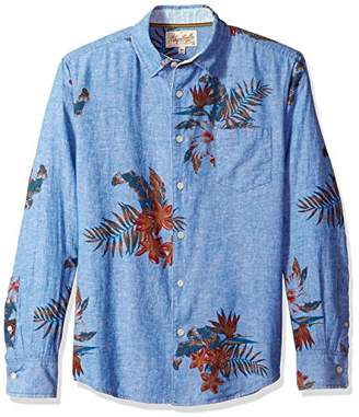 Margaritaville Men's Long Sleeve Chambray Floral Print Shirt