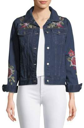 Johnny Was Desi Floral-Embroidered Denim Jacket, Plus Size