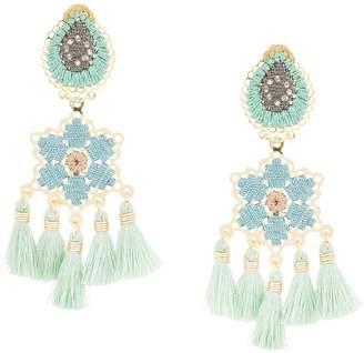 Mercedes Salazar Hibiscus Menta fringe drop earrings