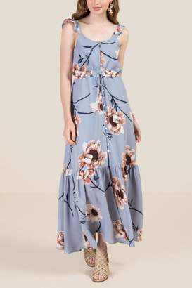 Chrissy Button Front Tie Waist Floral Maxi Dress - Oxford Blue