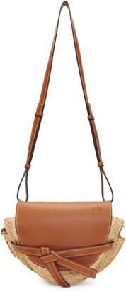 Loewe Tan and Beige Small Raffia Gate Bag