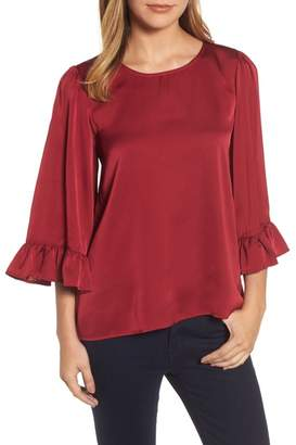 Bobeau Ruffle Sleeve Satin Top