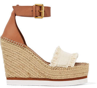 See by Chloe Canvas And Leather Espadrille Wedge Sandals - Tan