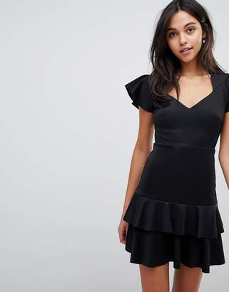 Asos DESIGN Scuba Mini V Neck Dress with Ruffles