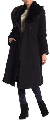 Via Spiga Faux Fur Shawl Collar Wool Blend Wrap Coat