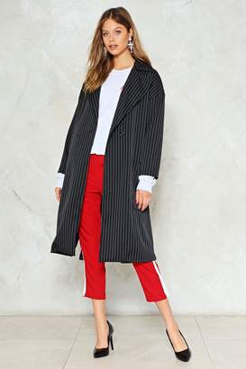 Nasty Gal Can't Pinstripe You Down Trench Coat