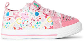 Peppa Pig Toddler Girls) Pink & White Floral Character Low-Top Sneakers