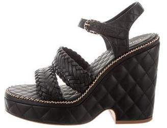 Chanel CC Quilted Leather Platform Sandals