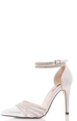Quiz Silver Diamante Strap Pointed Court Shoes