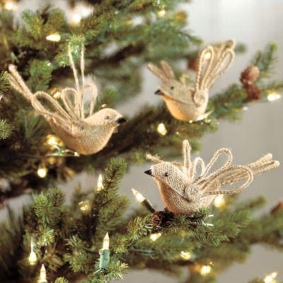 Burlap Bird Ornaments - Set of 6