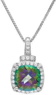 Lord & Taylor Sterling Silver, Mystic Fire and White Topaz Pendant Necklace